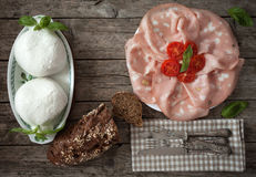 Mortadella And Mozzarella Royalty Free Stock Images