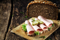 Mortadella sandwich on wholewheat bread Stock Photo