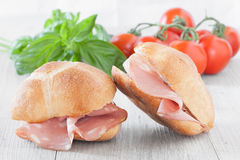Mortadella Sandwiches Stock Photos