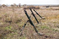 Mortai sugli addestramenti militari fotografia stock libera da diritti