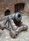 Mortaio del secolo XVIII su un trasporto di pistola di legno Fotografia Stock
