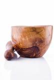Mortaio di legno immagine stock