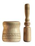 Mortaio e pestello tenuti in mano di legno Fotografie Stock