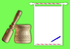 Mortaio e pestello tenuti in mano di legno Immagini Stock