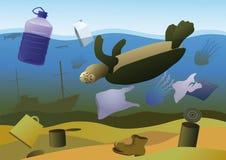 Mortalidades de animais marinhos ilustração do vetor