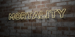 MORTALITY - Glowing Neon Sign on stonework wall - 3D rendered royalty free stock illustration. Can be used for online banner ads and direct mailers Royalty Free Stock Photography
