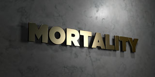 Mortality - Gold text on black background - 3D rendered royalty free stock picture. This image can be used for an online website banner ad or a print postcard Stock Photo