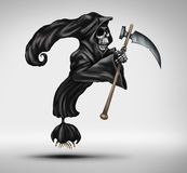 Mortality Question. As a grim reaper or ghost of death character shaped as a question mark as a concept for declining health uncertainty and aging fear of dying stock illustration