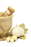 Mortar. And pestle with garlic, pepper and Stock Photography