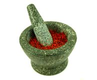 Mortar. With safran spices Stock Photo