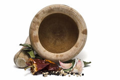 Mortar And Pestle And Spices. Stock Image