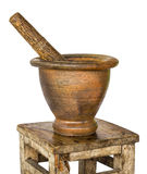 Mortar And Pestle In An Old Bench. Stock Photos