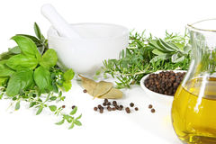 Free Mortar And Pestle With Herbs And Spices Stock Photo - 4011290