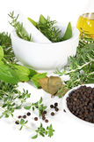Mortar And Pestle With Herbs And Spices Stock Photography
