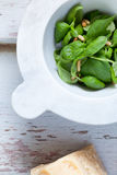 Mortar With Basil Leaves Stock Image