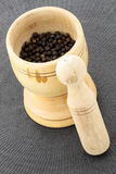 Mortar and black pepper Royalty Free Stock Images
