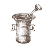 Mortar. Black and white sketch Royalty Free Stock Image