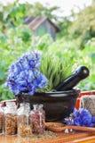 Mortar with blue cornflowers and sage on windowsil stock photo
