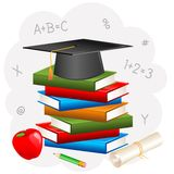 Mortar Board on Book with Degree. Vector illustration of mortar board on book with degree Royalty Free Stock Photography