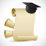 Mortar Board on Certificate. Illustration of mortar board on blank scroll paper Royalty Free Stock Images