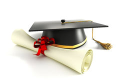 Mortar Board with Degree. 3d image of mortar board with degree against white background Stock Photo