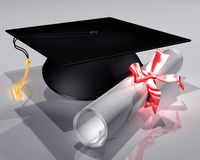 Mortar Board and Diploma Stock Image