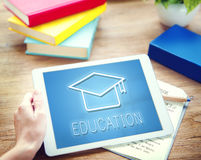 Mortar Board Education Success Icon Concept. People Mobile and Technology Education Icon royalty free stock image