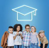Mortar Board Education Success Icon Concept. Students Mortar Board Education Success Royalty Free Stock Photography