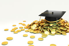Mortar Board on GOld Coin. 3d image of mortar board on hip of gold coin against white background Royalty Free Stock Photos