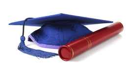 Mortar Board and Scroll Holder Stock Photo