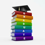 Mortar board on stack of rainbow graduate book isolated on white Stock Images