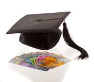 Mortar board and the swiss franc. education costs Royalty Free Stock Photo