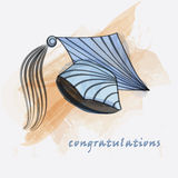 Mortar board in water colors Stock Images
