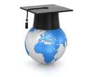 Mortar board and world Stock Images