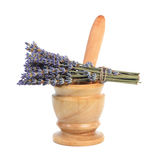 Mortar and a bouquet of lavender Royalty Free Stock Photos