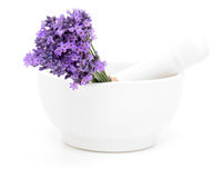 Mortar and a bouquet of lavender Stock Photos