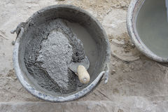 Mortar bucket. Background  cement  tools Royalty Free Stock Photography