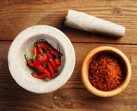 Mortar and chillies Royalty Free Stock Photo