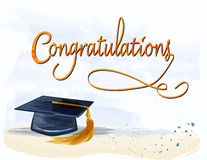 Graduation with congratulations text in watercolors. Congratulations text with mortar in watercolors. Graduation concept Royalty Free Stock Photo