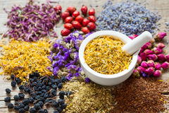 Mortar of dry marigold flowers and herbal tea assortment Stock Photos