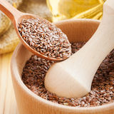 Mortar with flax seeds Stock Image