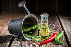 Mortar with fresh condiments Royalty Free Stock Image