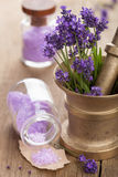 Mortar with fresh lavender and salt Stock Photos