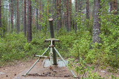 Mortar. A grenade launcher in the woods east Finland stock photos