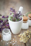 Mortar of healing herbs and bottles of homeopathic globules. Royalty Free Stock Photos