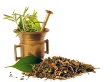 Mortar with herbal. Mortar with herbs. Herbal tea royalty free stock images