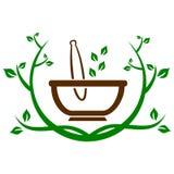 Mortar herbal leaves. An image of mortar herbal leaves Vector Illustration