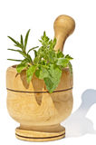 Mortar with herbs Royalty Free Stock Images