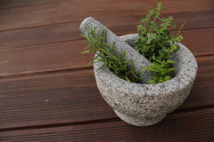 Mortar herbs Royalty Free Stock Photo