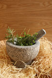 Mortar herbs stock image